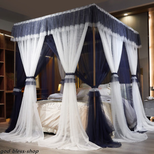 double layers mosquito net with frames bed curtain valances canopy netting new