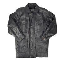 Vintage Dunhill Men's XL Black Leather Long Jacket Pig Nappa EUC Warm Heavy Coat