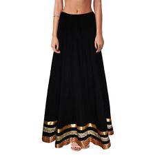 Black Color Solid Skirt Lace Work Long Skirt Plain Women Maxi Skirt Inidan Skirt
