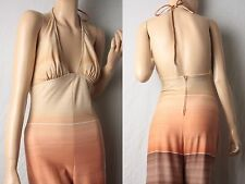 RARE Vintage 70's halter backless ombre print maxi bell festival Jumpsuit XS S 0