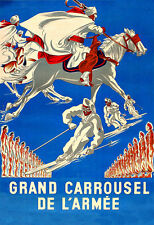 Army Carousel France Ski Horse Riding Propaganda French  Poster Print