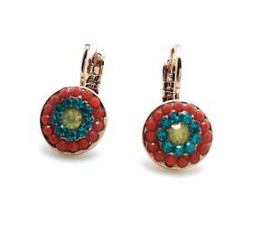 Mariana Earrings Round Light Blue, Red & Yellow Swarovski Crystals Zanzibar A...