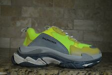 NEW Balenciaga Triple S Sneaker Neon Yellow Grey Speed Flat Trainer 44 US 10