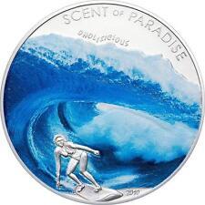 2010 Palau Large Color Silver $5 Surfing