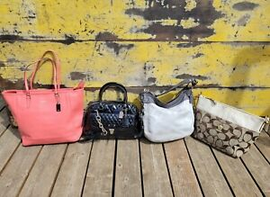 LOT 4 COACH SHOULDER BAG'S POPPY GLOSS/SIG/ZOE/NORTH SOUTH SAFFIANO PINK TOTE