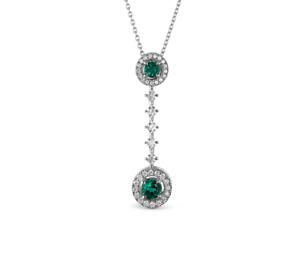 Asprey Emerald Diamond Pendant Platinum Necklace