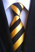 Yellow Stripe Style Elegance Silk tie gift JACQUARD WOVEN Men's Ties Necktie