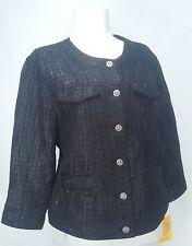 Ruby Rd Women's Blazer Jacket Crinkle Textured Shimmer Black Size 12