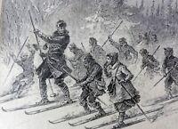 SCHULLEHRER MIT KINDERN AUF EINEM AUSFLUG beim Skilaufen, orig Holzstich um 1880