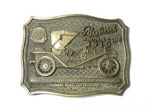 Vintage USA Advertising Pictorial Brass Belt Buckle Packard Motor Cars Detroit