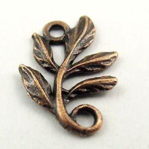 31135 Antiqued Copper Vintage Alloy Vivid Leaf Branch Charms Pendant 138PCS
