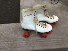 80'S VINTAGE ROLLER DERBY White & Red 4-Wheel Quad Roller Skates SIZE 8