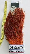 "1/2 SADDLE "" Metz Magnum #2 "" GRIZZLY ORANGE Long Hackle for BOMBER,PREDATOR"