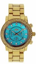 Gold Plated Case Women's Round Watches with 12-Hour Dial
