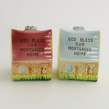 50's VINTAGE MADE IN JAPAN CERAMIC SALT PEPPER SHAKERS BLESS OUR MORTGAGED HOME