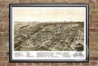Vintage Greenville, TX Map 1886 - Historic Texas Art - Old Victorian Industrial