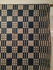 Vintage Pre-owned 1800's Wool Coverlet in Navy Blue & Cream