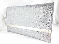 NEW GOLD SILVER BLACK BLUE GREY GLITTER EVENING CLUTCH BAG ENVELOPE XMAS PARTY