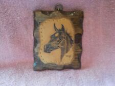 Folk Art Leather Nailed on Wood Picture of Horse Signed '79