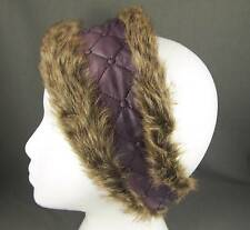 Purple ombre faux fur lined quilted ear warmer muffs head wrap hat cover ski