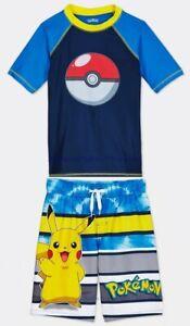 Boys Pokemon Swim Trunks Rash Guard Shirt Size 4- 12 Shorts Swimsuit Pikachu Set