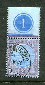 "Grenada 1908 2/- blue & purple / blue SG87 fine used plate number ""1"" in margin"