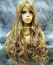 Long Wavy Layered Blonde Mix Full Synthetic Wig Hair Piece  #MF27.613 NWT