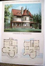 """1892 Ergänzung zu Den """" Scientific American Architects W/Neu Jersey Mansion"""