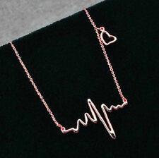 ROSE GOLD PLATED HEART BEAT ECG Collana