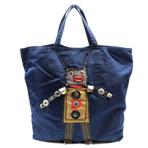 PRADA Tote Bag Robot Navy Nylon Triangle Logo