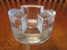 Lovely Heavy Clear Textured Art Glass Tea Light Candle Warmer