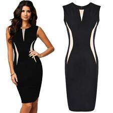 Womens Sleeveless Office Lady Bodycon Formal Dress Prom Cocktail Evening Party
