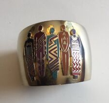 Laurel Burch Cloisonné Enamel Gold Tone Bracelet Tribal People Signed
