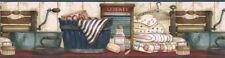 D.Knott LAUNDRY ROOM,TOWELS Wallpaper Border ACS59018B