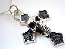 Skull on Cross Pewter Necklace with 925 Sterling Silver Chain New