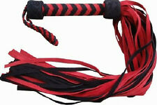 Black/Red Leather 36 Tail Flogger Whip Suede - NEW HORSE TRAINING TOOL
