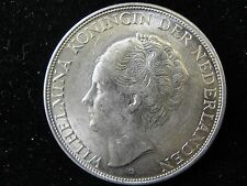 1943 D Netherlands East India 2 1/2 Gulden Silver Coin Looks AU Km #331 1 Yr.