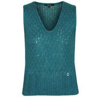 GUCCI emerald green open knit soft fuzzy mohair silk GG logo sweater vest Small