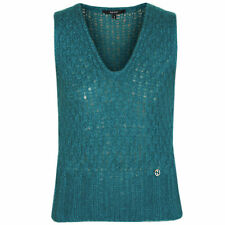 GUCCI emerald green open knit soft fuzzy mohair silk GG logo sweater vest Small