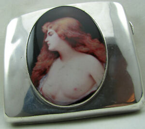 Good Antique Solid Silver Cigarette Case with Enamel