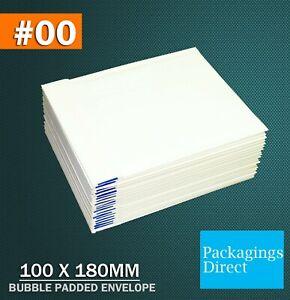 White Bubble Mailer 00 100 x 180mm Padded Bag Envelope 50 / 100 / 200 / 1000