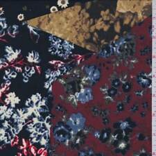 Black/Berry Floral Patchwork Georgette, Fabric By The Yard