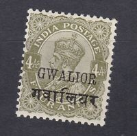 India Gwalior 1913 KGV - 4A Olive - SG72 - Mint Hinged (E14C)