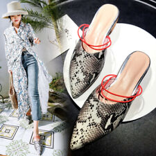 Sexy Snakeskin Slipper Shoes Women's Flats Mules Loafers Pointed Toe Shoes