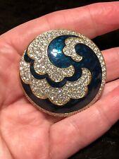Vintage Gold Brooch with Swarovski Crystals and Blue & Green Enamel