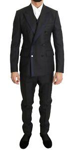 Dolce & Gabbana Suit Men's Gray Wool Blue Silk Double Breasted IT46/US36/S