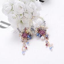 Vintage Statement Flower Crystal Earrings Drop Ear Dangle Women Jewelry Holiday