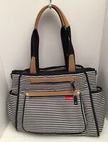 Skip And Hop Striped Diaper Bag Black White Tan Multi Compartments Full Size
