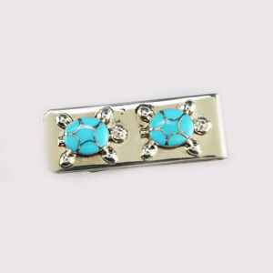 NATIVE AMERICAN ZUNI INLAY TURQUOISE TURTLE MONEY CLIP