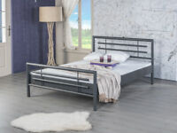 Bettgestell Doppelbett Metallbett Bettrahmen LOLA 120x200 grau NEU